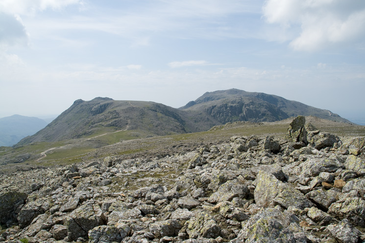 Ill Crag on the left, Broad Crag with Scafell Pike behind on the right from Great End's summit