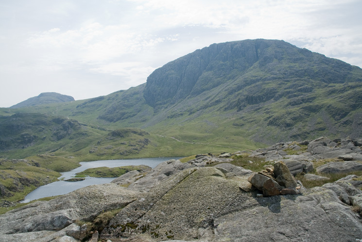 Sprinkling Tarn and Great End from the 631m spot height on Seathwaite Fell (a Nuttall)