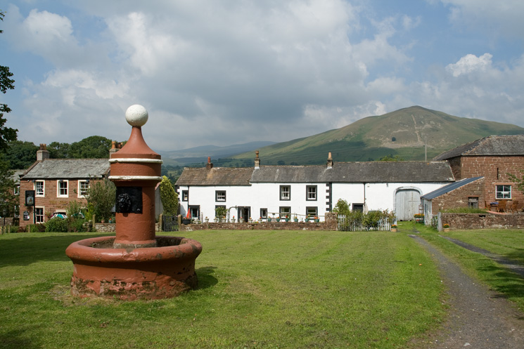 Dufton Pike from the fountain in the village of Dufton with The Stag Inn on the far left