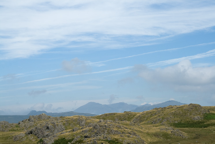 Green Crag, the Scafells and Harter Fell from Dunnerdale Fells summit
