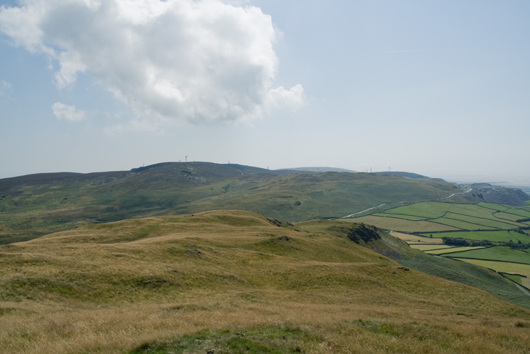 The windfarm on Lowick High Common to the south from Great Burney's summit