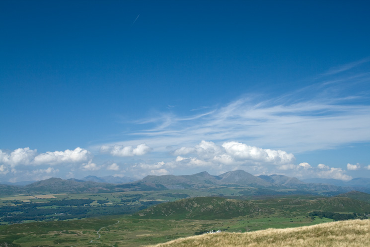 The Coniston Fells from Great Burney's summit