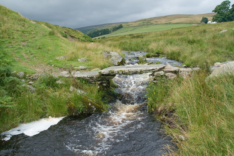 Slate bridge across Cawdale Beck