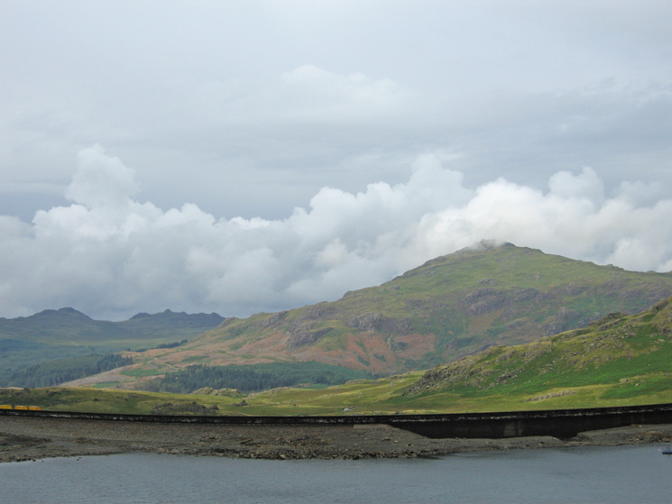 Harter Fell seen over Seathwaite Tarn dam
