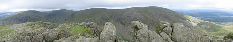 A panorama of the Coniston Fells from Dow Crag's summit