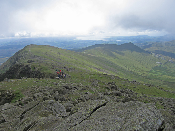 The ridge to Buck Pike and on to Walna Scar and White Pike from Dow Crag's summit
