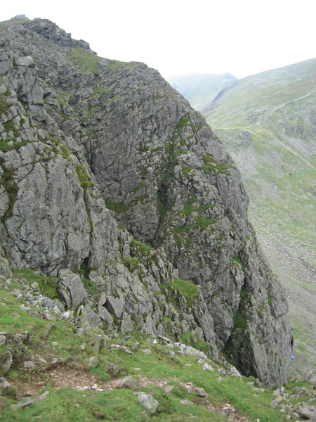 Dow Crag, note the blue stretcher box at the bottom