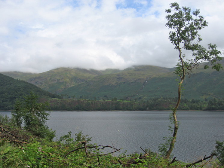 Looking across Thirlmere to Stybarrow Dodd with its top in cloud