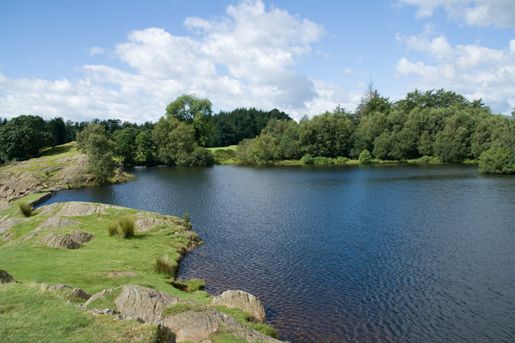 Moss Eccles Tarn, note the small dam on the left