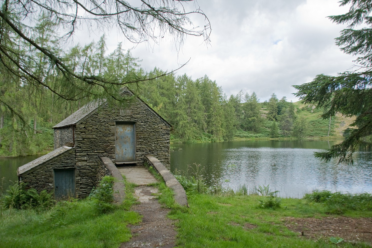 The one hundred year old 1908 boathouse at Three Dubs Tarn