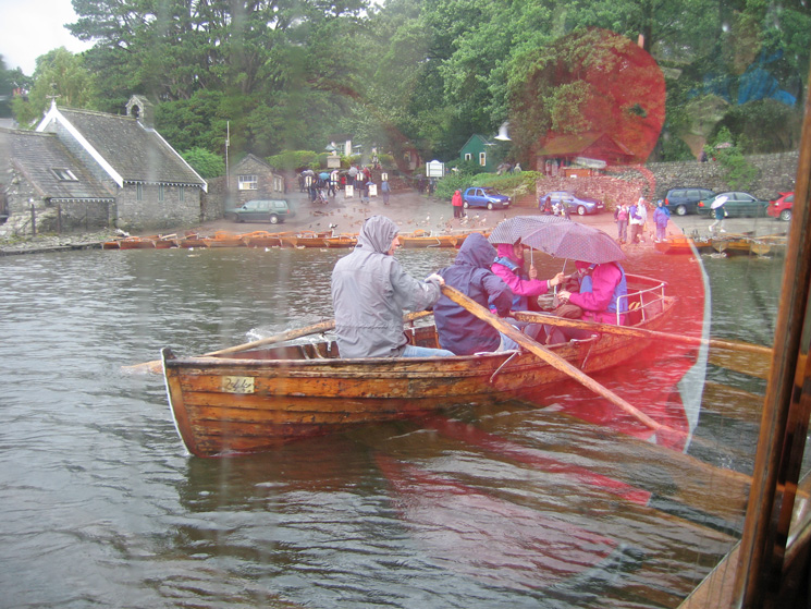 Keswick landing stages in the rain, I'm inside a launch and dry!