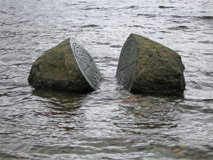 The Hundred Year Stone, Calfclose Bay, the lake level is high for August