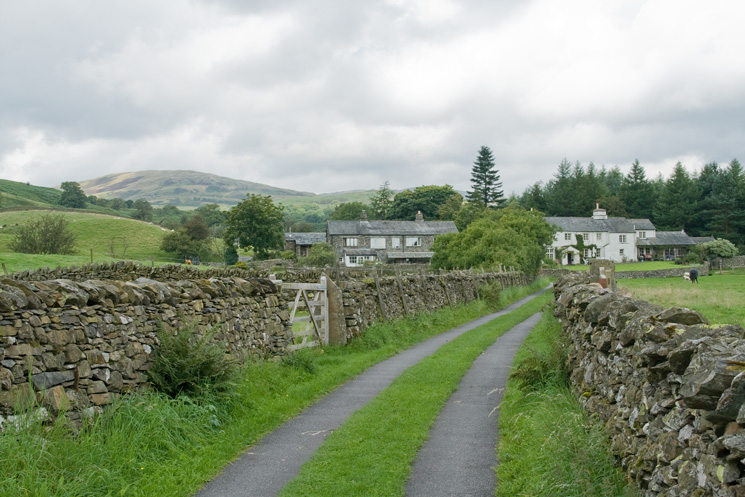 The track to Ulthwaite Fold (l) and Croft Head (r) with Sallows in the distance