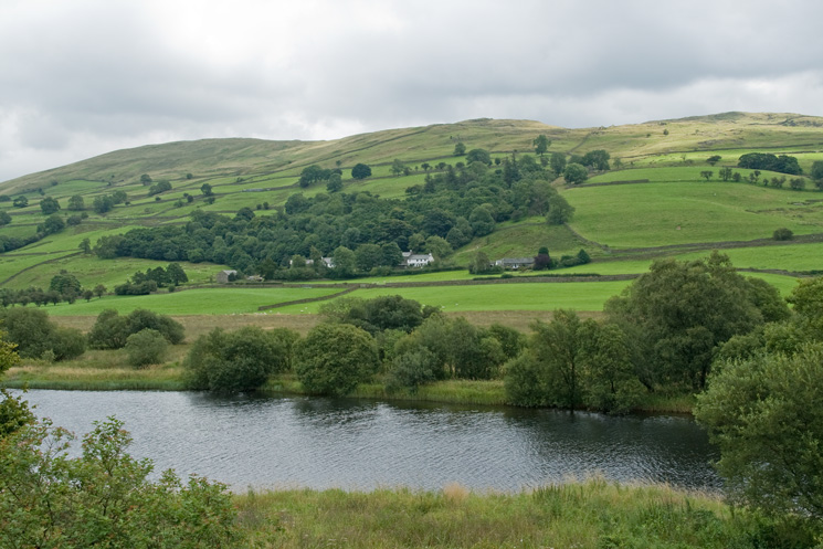 Looking over Kentmere Tarn to Long Houses and Green Quarter Fell