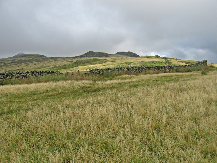 Kinmont Buck Barrow, Great Paddy Crag and Buck Barrow from the path to the Corney Fell road