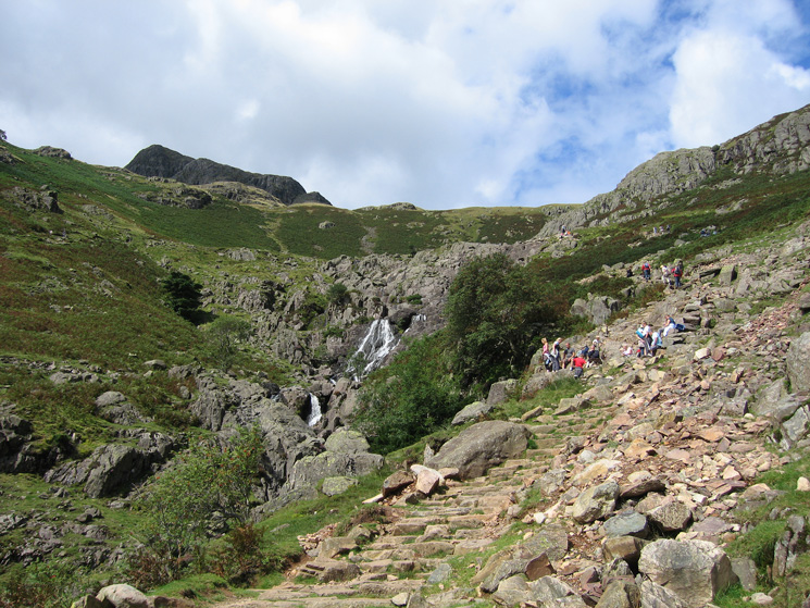 The path up to Stickle Tarn is busy today