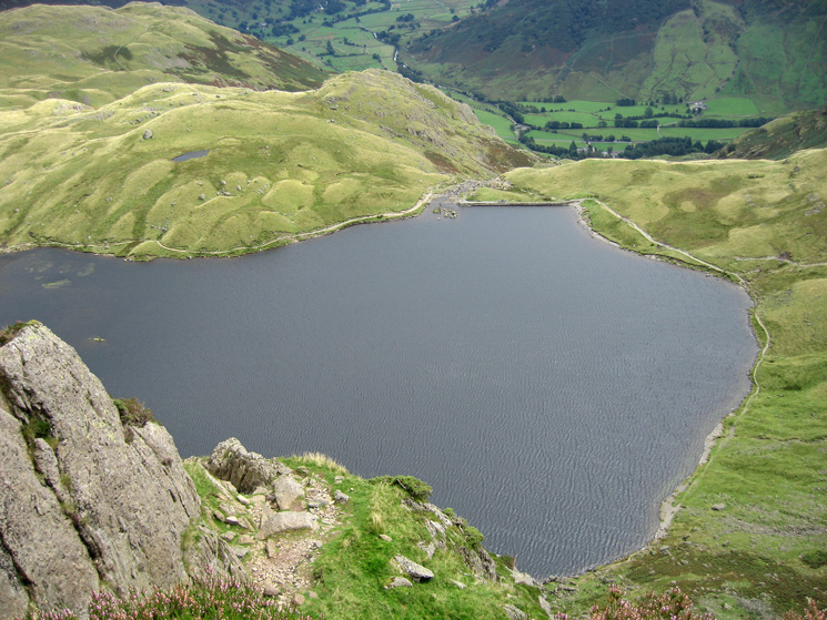 Looking down on Stickle Tarn from the rocky slabs at the top of Jack's Rake