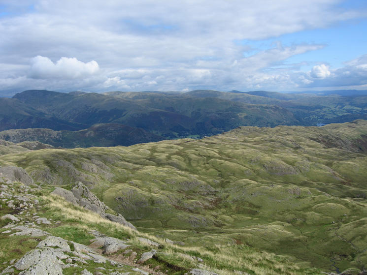 Looking over Blea Rigg to the Fairfield Horseshoe from Pavey Ark's summit