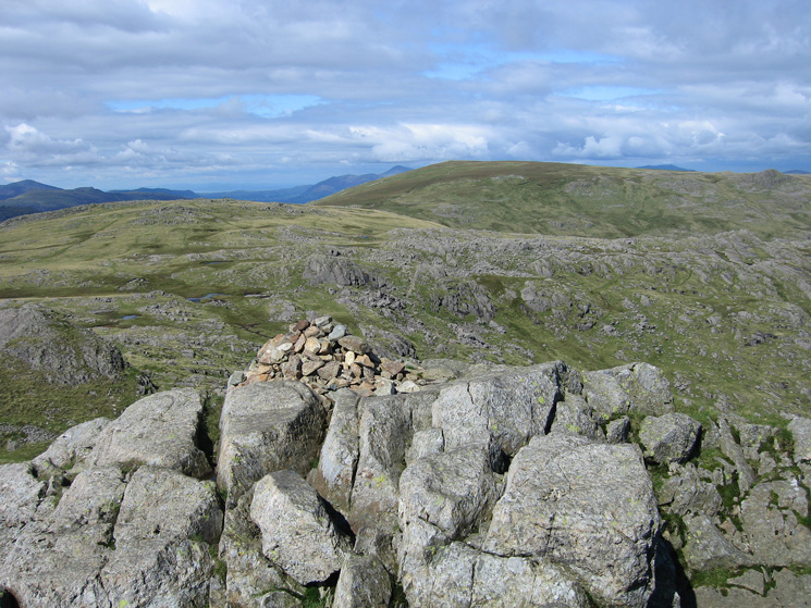 Thunacar Knott, High Raise and Sergeant Man (knobble on far right) from Harrison Stickle's summit