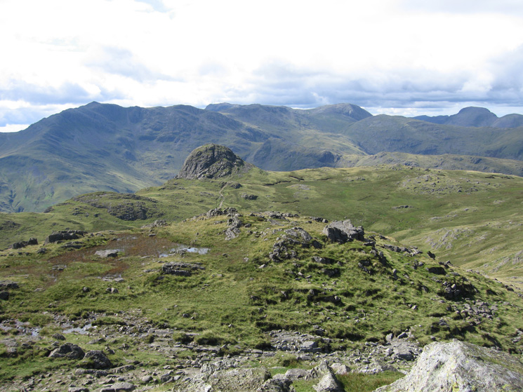 Pike o'Stickle with Bowfell, Esk Pike, Great End, Allen Crags and Great Gable behind