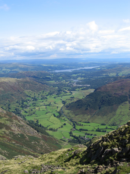 Looking down on Great Langdale and Windermere from Harrison Stickle's summit