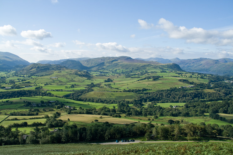 The view south to High Rigg and Bleaberry Fell from above the car park