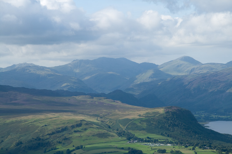 South over Walla Crag to Scafell Pike and Great Gable
