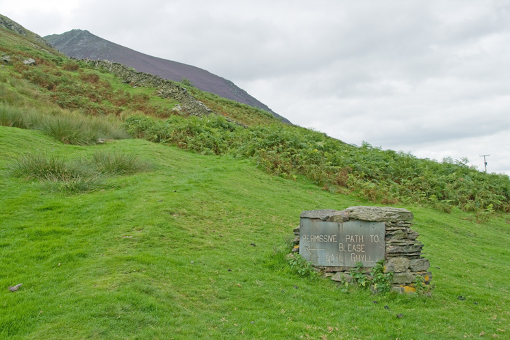 Start (or end depending on your direction of travel) of the permissive path under Blencathra from Blease Road