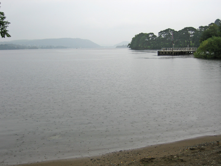 Raining on Ullswater, looking back to Howtown pier