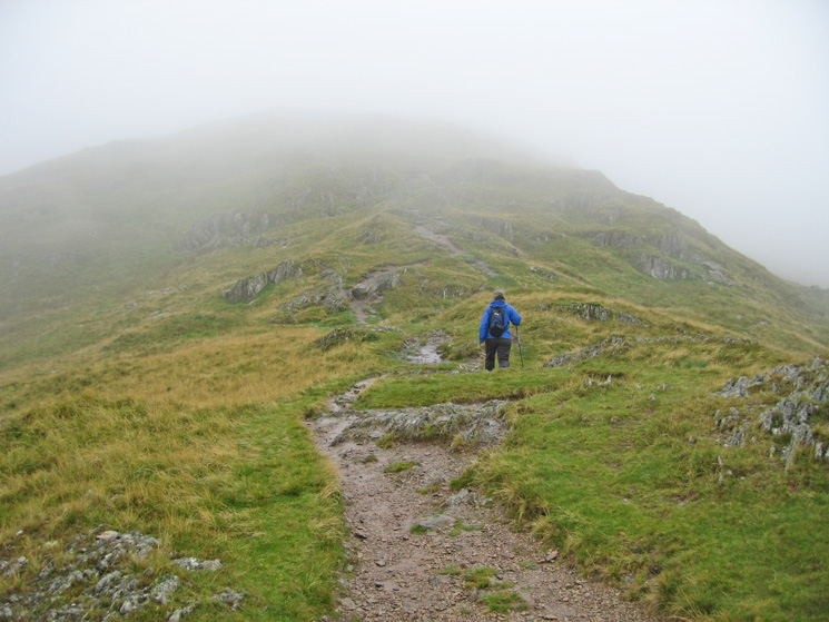 Heading for Place Fell's summit