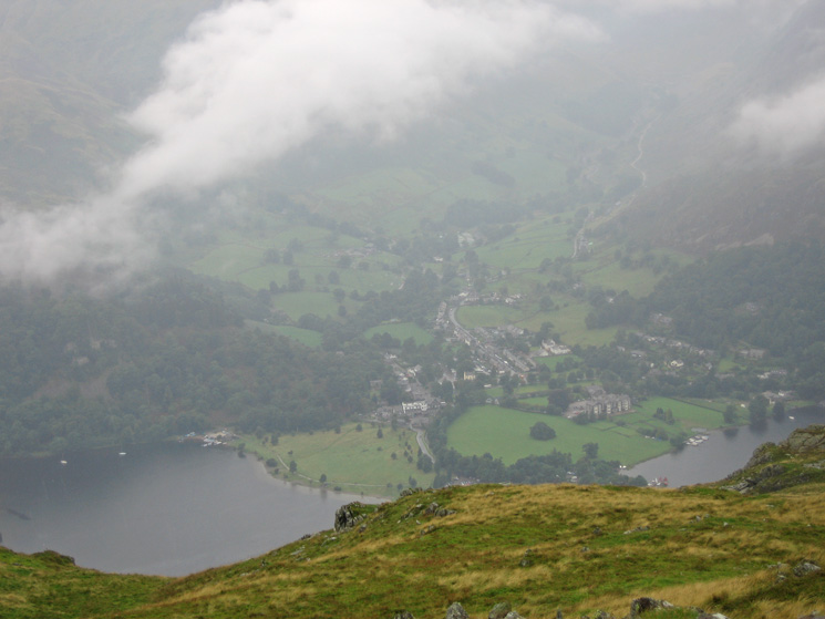 Looking down on Glenridding village from Place Fell's summit