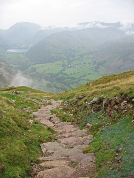 The footpath repair work is well underway on the Boredale Hause to Place Fell path