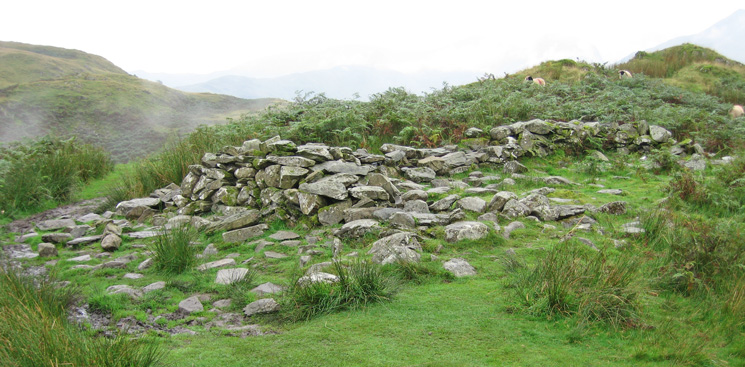 All that remains of  'Chapel in the Hause', the ruins of a medieval chapel at Boredale Hause