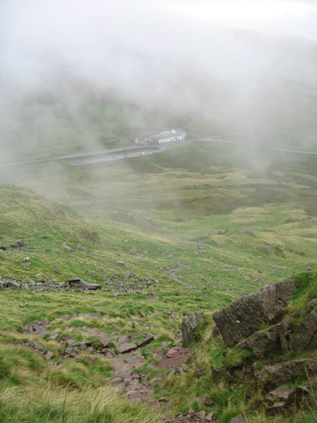 Looking back down on the Kirkstone Pass Inn as we start our ascent of Red Screes