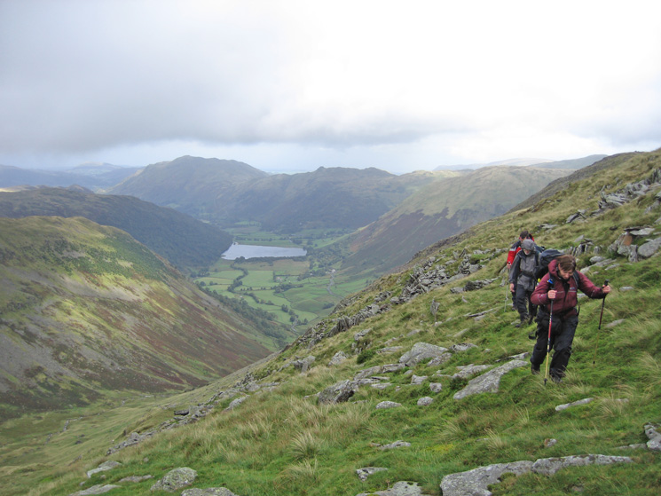 Traversing the flanks of Red Screes, heading for Scandale Pass