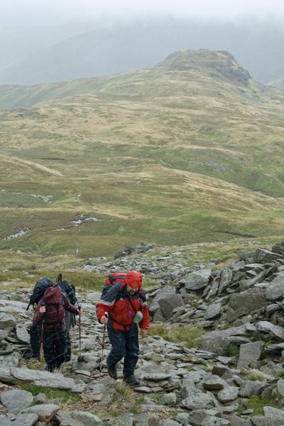 Ascending to High Bakestones with Little Hart Crag below