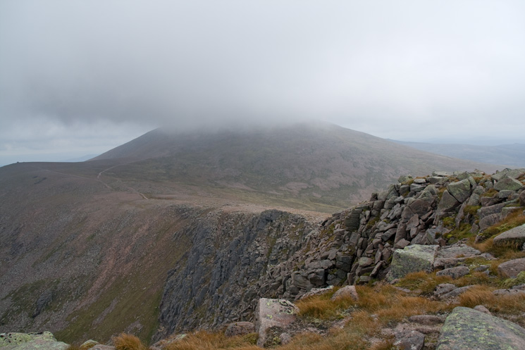 Cairn Gorm with its top in cloud from Stob Coire an t-Sneachda