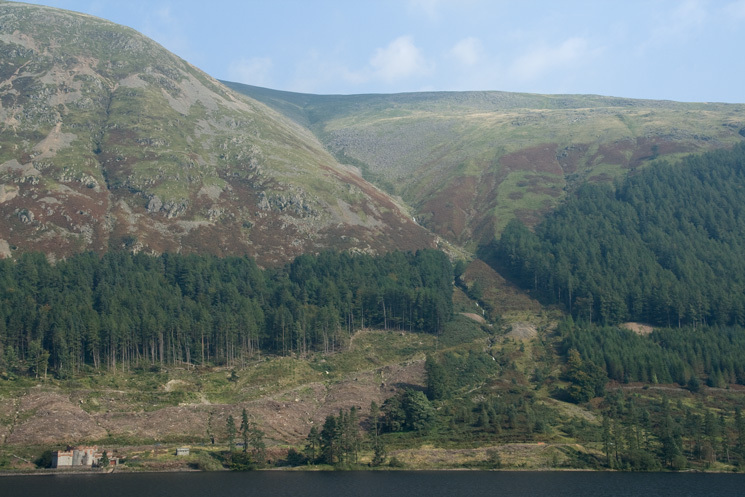 Looking across Thirlmere to Mines Gill, my route of ascent