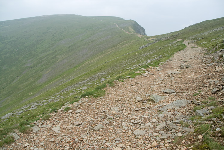 Looking back to Helvellyn's summit and Swallow Scarth