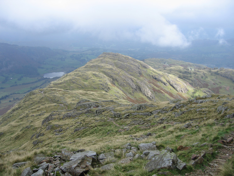 Birk Fell Man from Wetherlam Edge with Little Langdale Tarn on the left