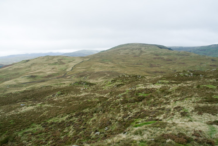 Todd Fell (left) and Capplebarrow (right), the next two summits of the round from Whiteside Pike
