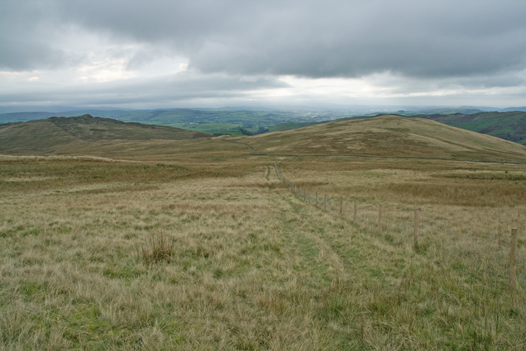 Looking back to Whiteside Pike (left) and Todd Fell (right) as we head for Capplebarrow