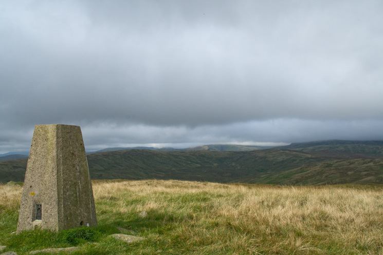 The trig point at White Howe's summit catches some sun