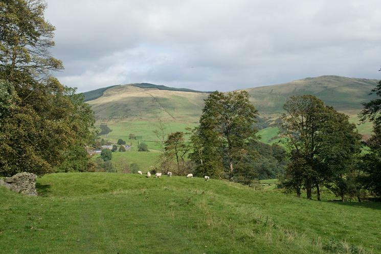 Looking north east towards Mabbin Crag and Castle Fell from the bridleway, the old Shap road, to Plough Farm