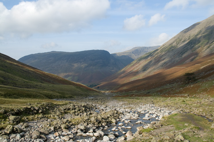 Looking back down Lingmell Beck towards Wasdale Head and Yewbarrow