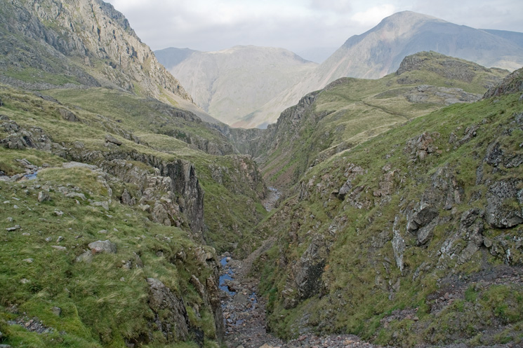 Piers Gill from the Corridor Route with Great Gable behind Middleboot Knotts on the right