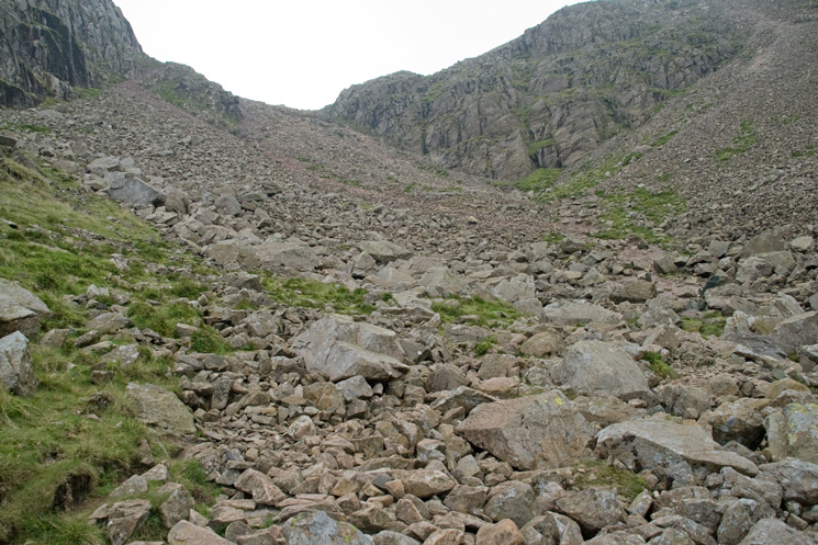 The final scree slope up to Broad Crag col