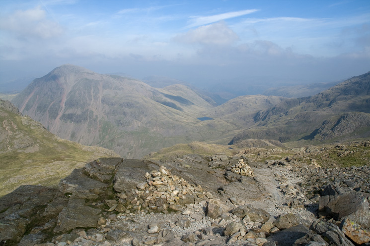 Looking north to Styhead Tarn from the descent off Scafell Pike to Lingmell col