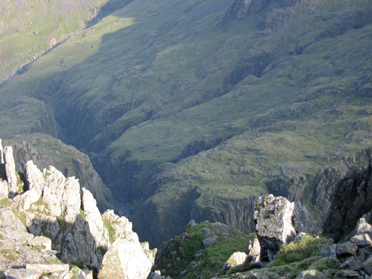 Looking down into Piers Gill from Lingmell's summit