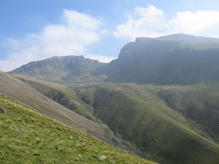 Scafell Pike looking lower than Scafell and the Brown Tongue route up to Hollow Stones